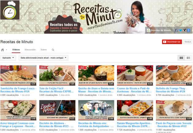 receitas de minuto youtube