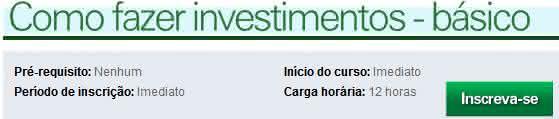 curso de investimento