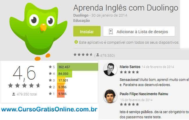 aprender inglês com app duolingo