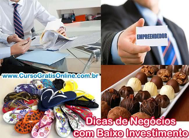 dicas de negócios de baixo investimento