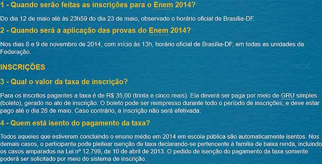 dúvidas sobre a inscrição enem 2014